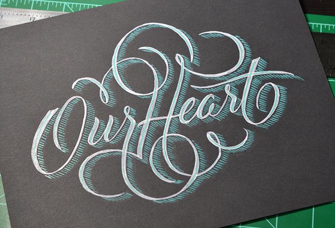 our heart written script typography lettering