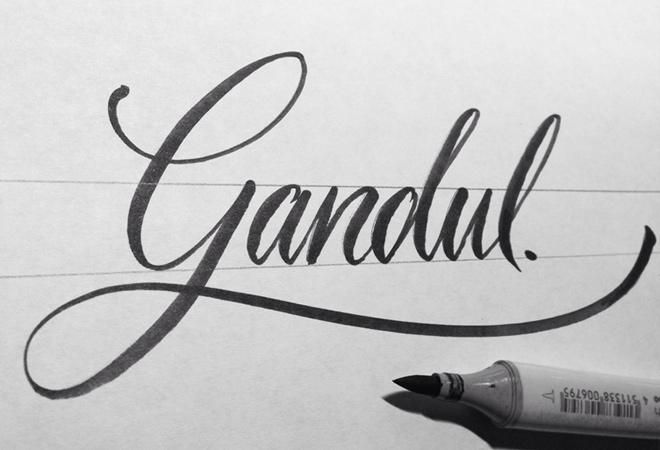 gandul written script writing design