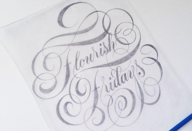 flourish friday script lettering writing design print
