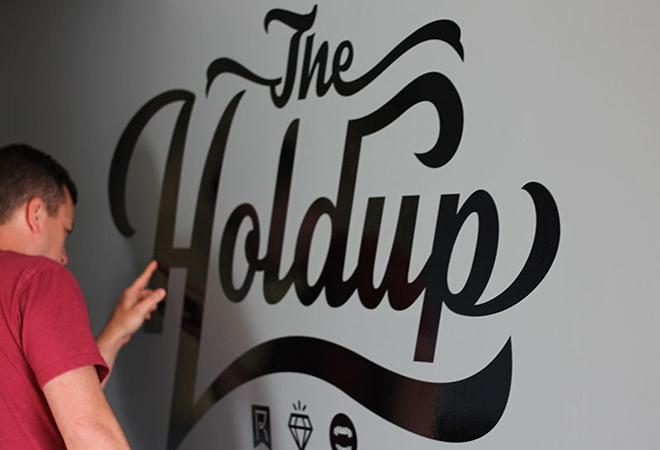 dark walls the holdup written typography
