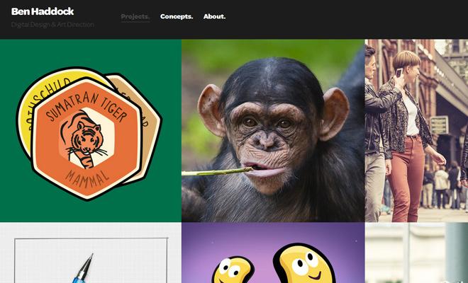 ben haddock dark personal portfolio website layout