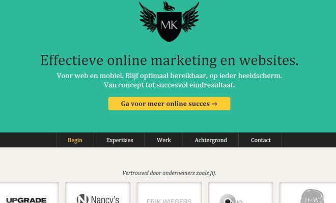 maarten kleyne personal portfolio website layout
