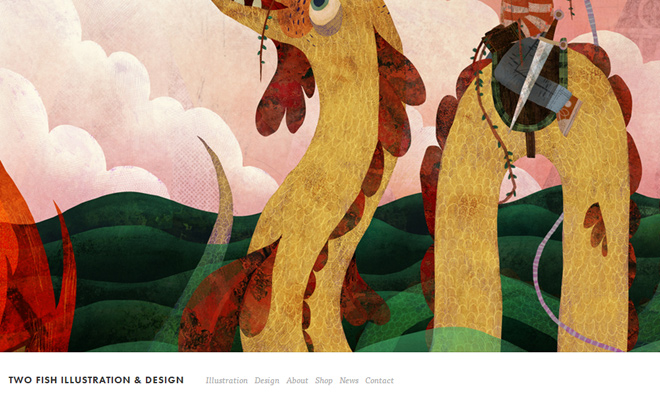 two fish illustration design portfolio website