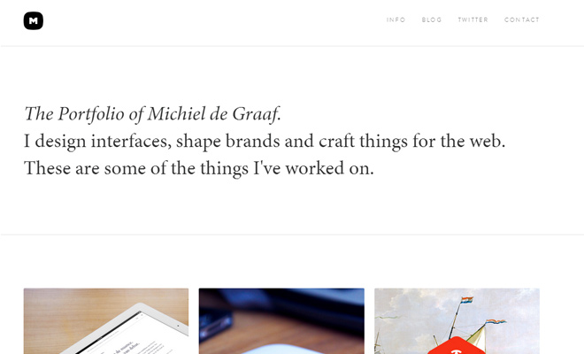 michael de graaf white clean portfolio website