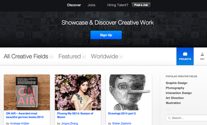 behance network website homepage