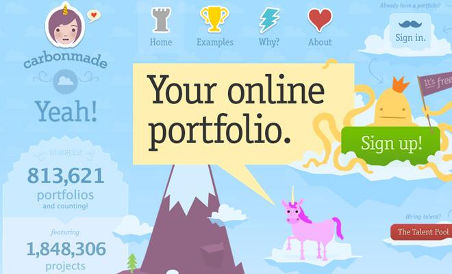 carbonmade portfolio service homepage design
