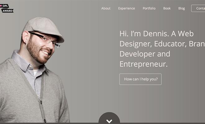 dennis field simple portfolio website layout