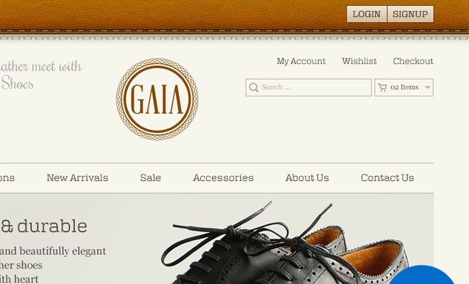 dark brown gaia homepage ui psd