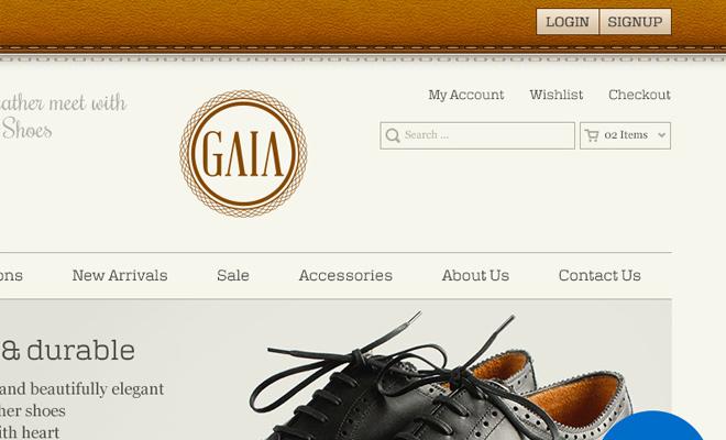 dark brown gaia homepage ui psd