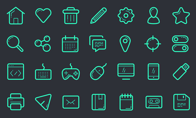 free green line iconset psd