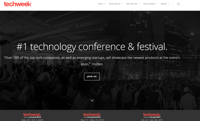 techweek website conference design layout