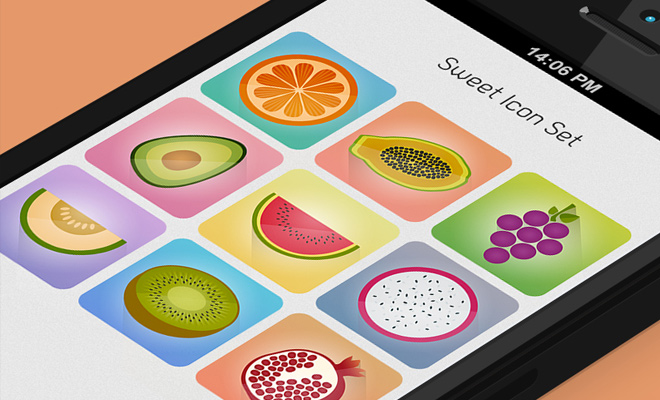 sweet fruit freebies rectangles icons