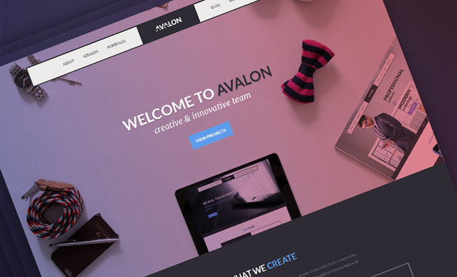 avalon studio website psd freebie