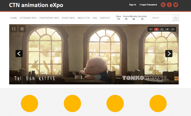 ctn creative talent network animation expo website