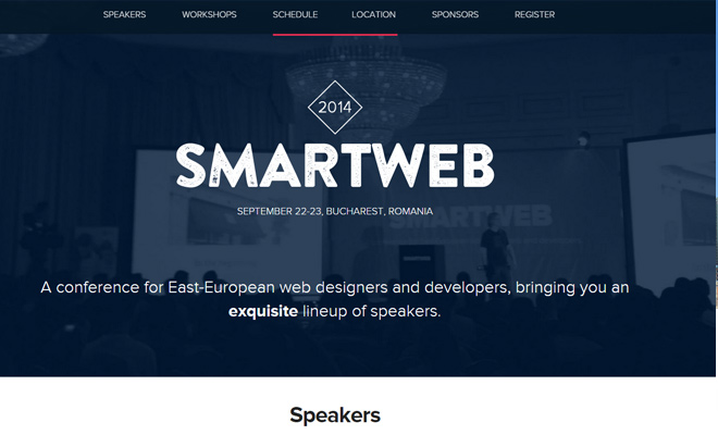 smartweb conference 2014 homepage web design