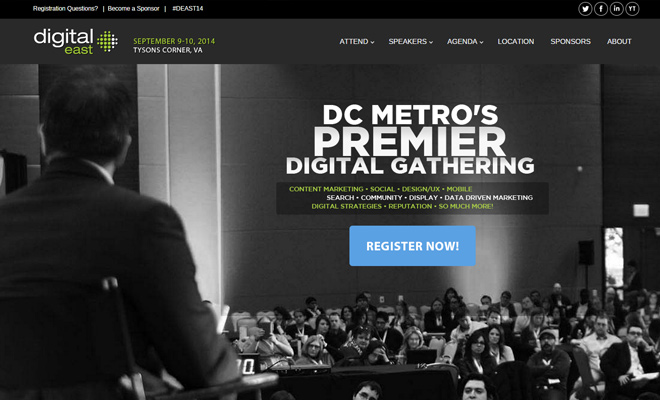 digital east conference 2014 dark homepage website