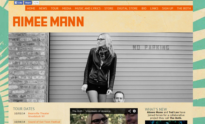 aimee mann personal website layout homepage