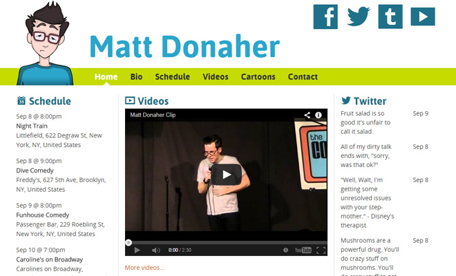 matt donaher standup comedian personal website layout