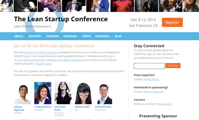 lean startup conference 2014 website
