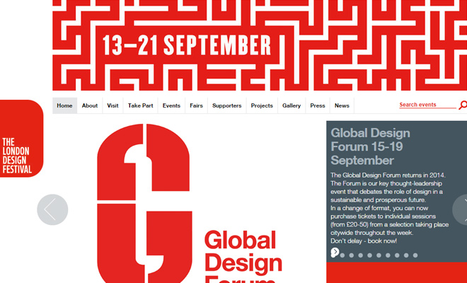 london design festival clean homepage website