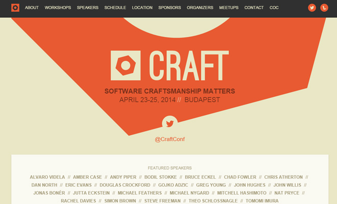 craft conference software development 2014 homepage