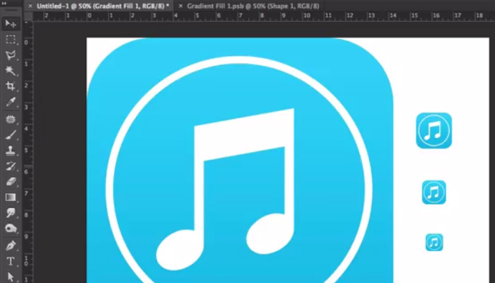 flat ios7 music app icon blue tutorial