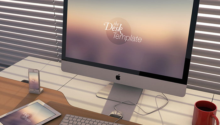 desk device mockup psd monitor tablet smartphone