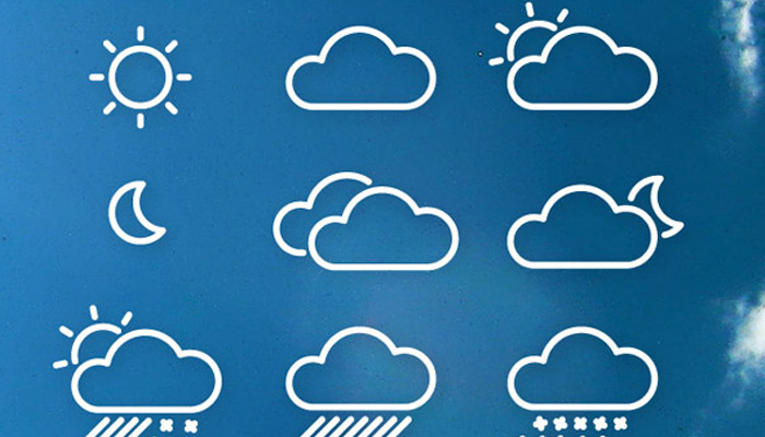 line icons weather symbols glyphs
