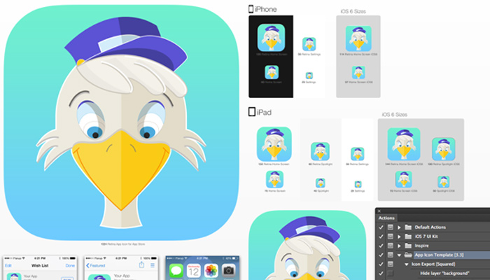bird messenger ios flat app icon tutorial