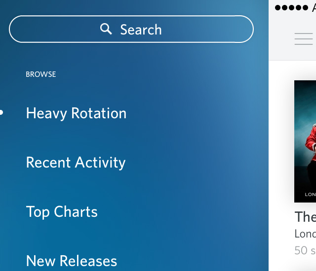 rdio gradient background hamburger sliding menu