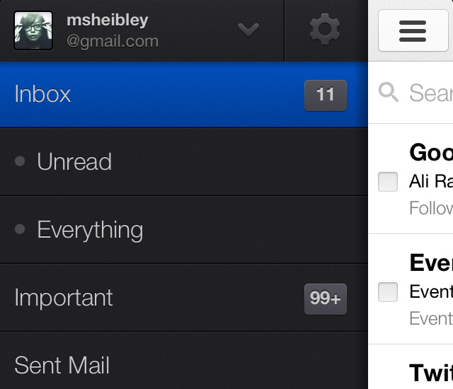 gmail sliding hidden drawer navigation menu ios