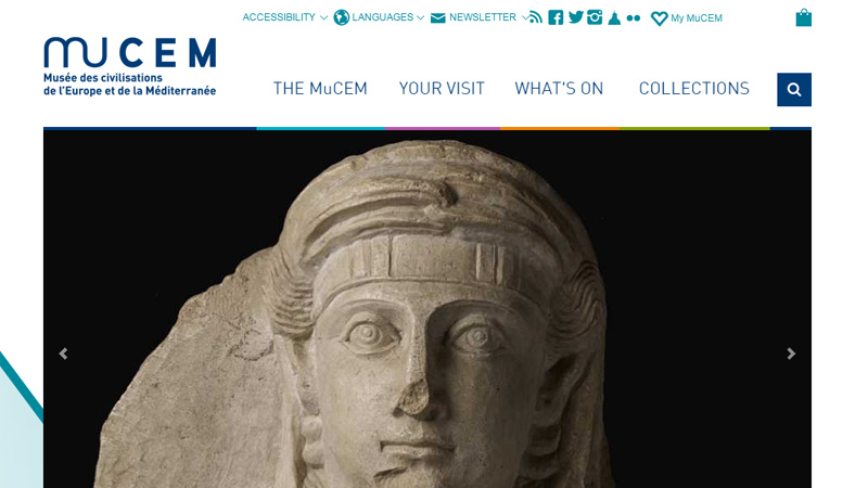 mucem museum europe homepage layout