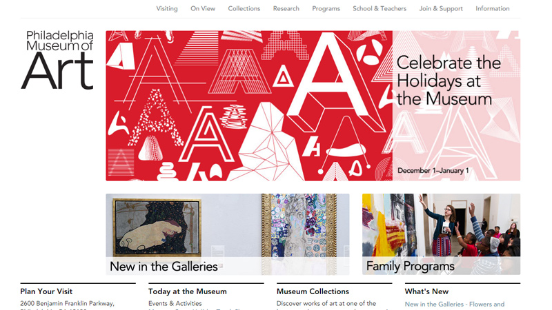 philadelphia museum of art website homepage
