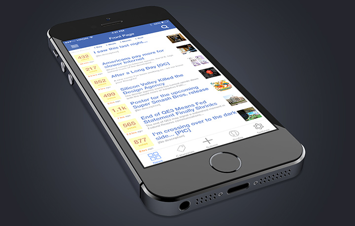 ios 8 iphone social news app psd freebie preview