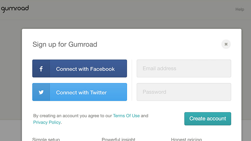 gumroad homepage modal window signup oauth