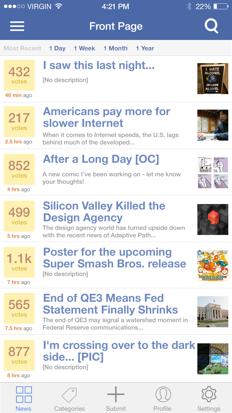 Freebie PSD: iOS 8 Social News iPhone App UI - DesignM ag