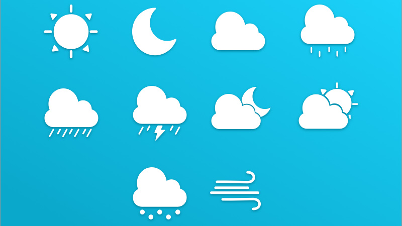 blue white weather icons freebie sketch