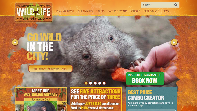 sydney zoo australia website layout