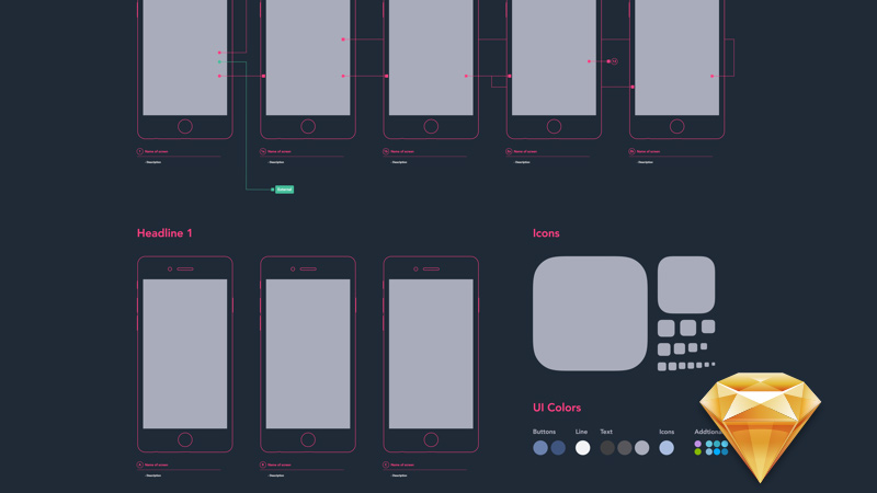 iphone app diagram template freebie sketch