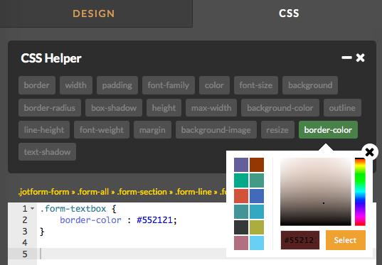 JotForm's CSS Helper, Within the Form Designer