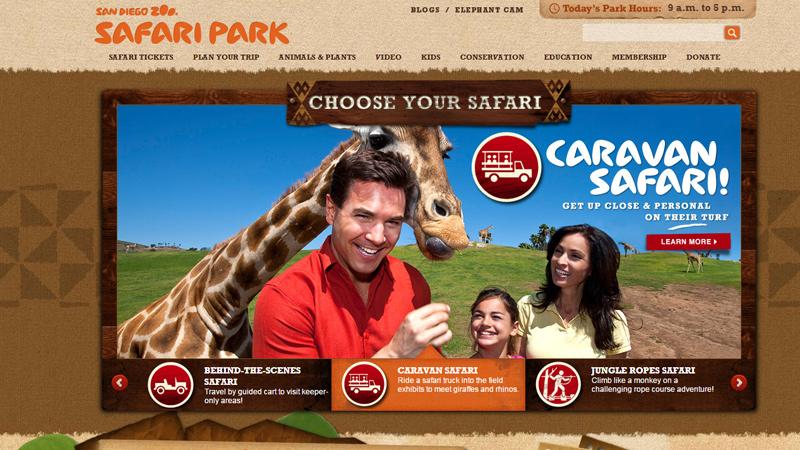 san diego zoo safari park website layout