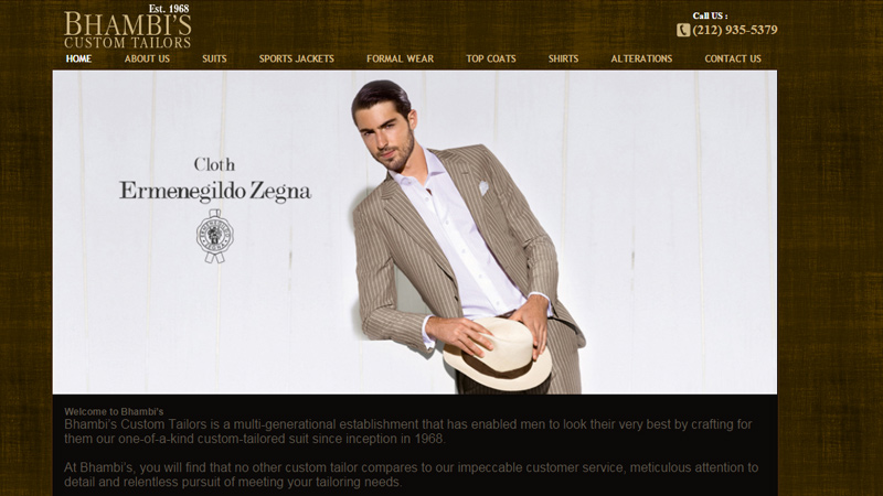 bhambi custom tailor website layout
