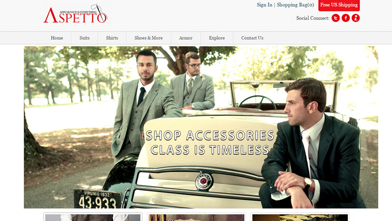 aspetto website custom bespoke tailor