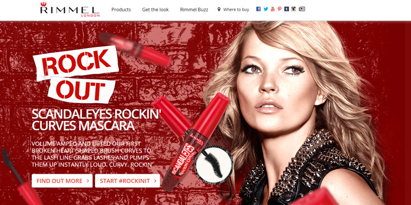 rimmel london parallax website design