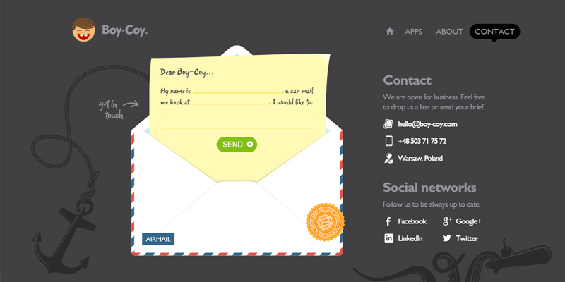 boy coy contact form parallax