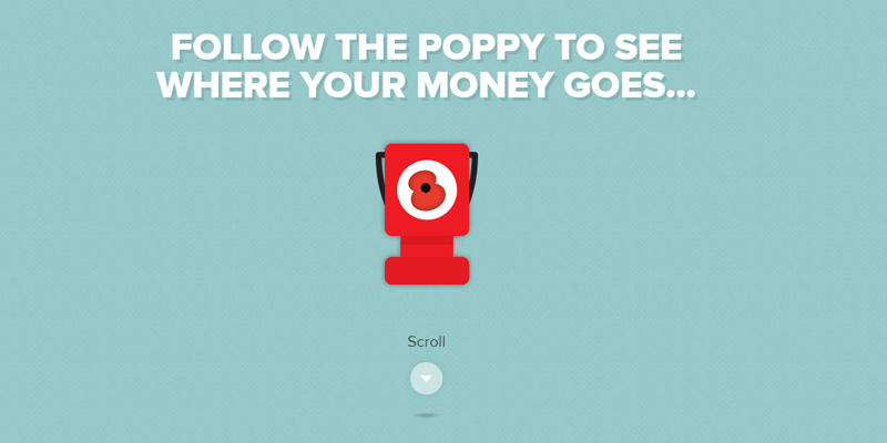 follow the poppy parallax website layout