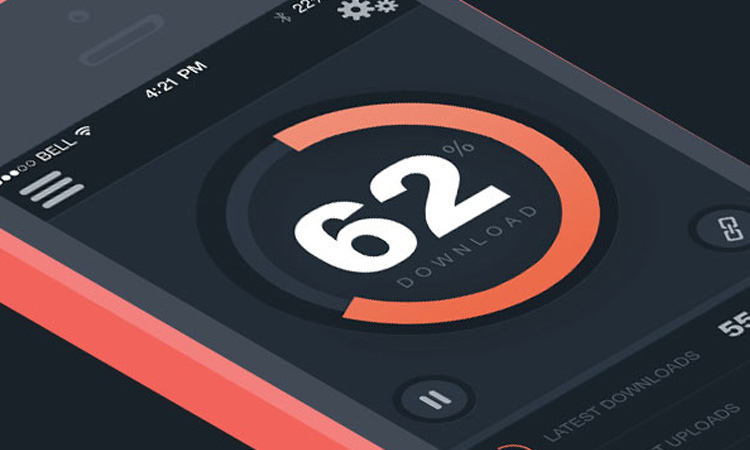 dark mobile app downloader interface ui