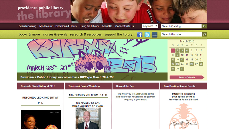 providence public library website homepage