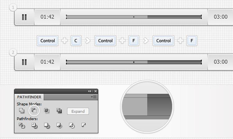 audio bar player interface illustrator