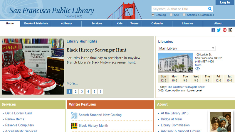 san francisco public library website
